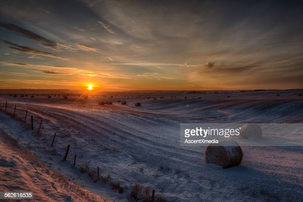 Sunrise over rural fields and hay bales, snow