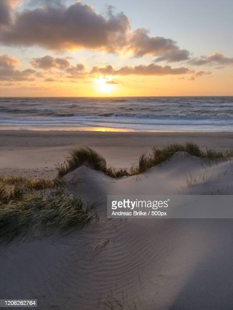 sunrise over sand dunes and sea - andreas solar stock pictures, royalty-free photos & images