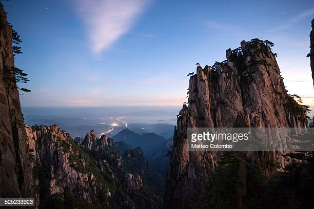 Sunrise over scenic Huangshan mountains, China