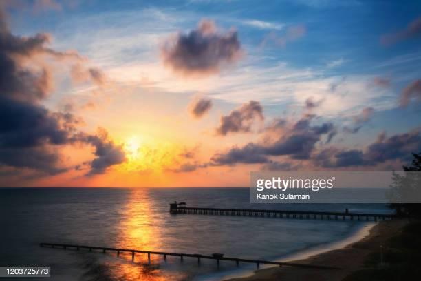 sunrise over sea in south of thailand - インド洋 ストックフォトと画像