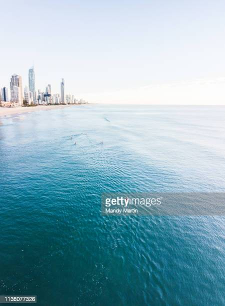 sunrise over surfers paradise - gold coast stockfoto's en -beelden