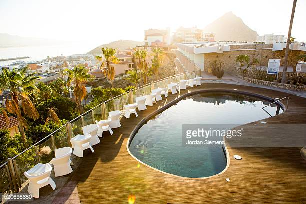 Sunrise over swimming pool, Cabo San Lucas, Mexico