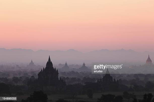 sunrise over the bagan temples - yangon stock pictures, royalty-free photos & images