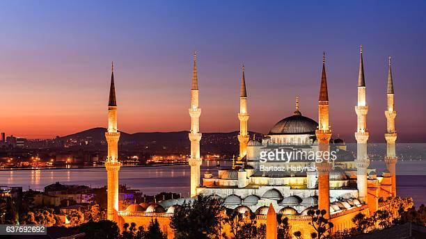 sunrise over the blue mosque, istanbul, turkey - ottoman empire stock photos and pictures