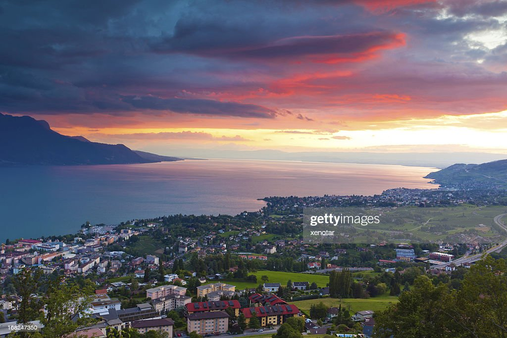Sunrise over the cities of Montreux and Lausanne : Stock Photo