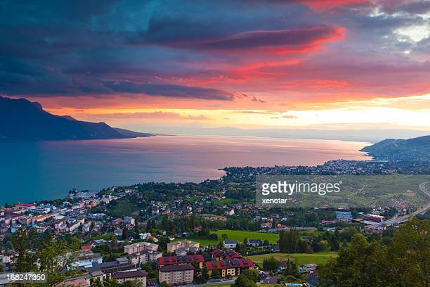 sunrise over the cities of montreux and lausanne - lausanne stock pictures, royalty-free photos & images