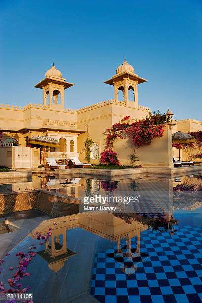 Sunrise over the deluxe rooms with semi private pool at the ultra luxurious Udaivilâs Oberoi Hotel. Udaipur. This hotel has been voted the 3rd best hotel in the world by Travel and Leisure Magazine. India.