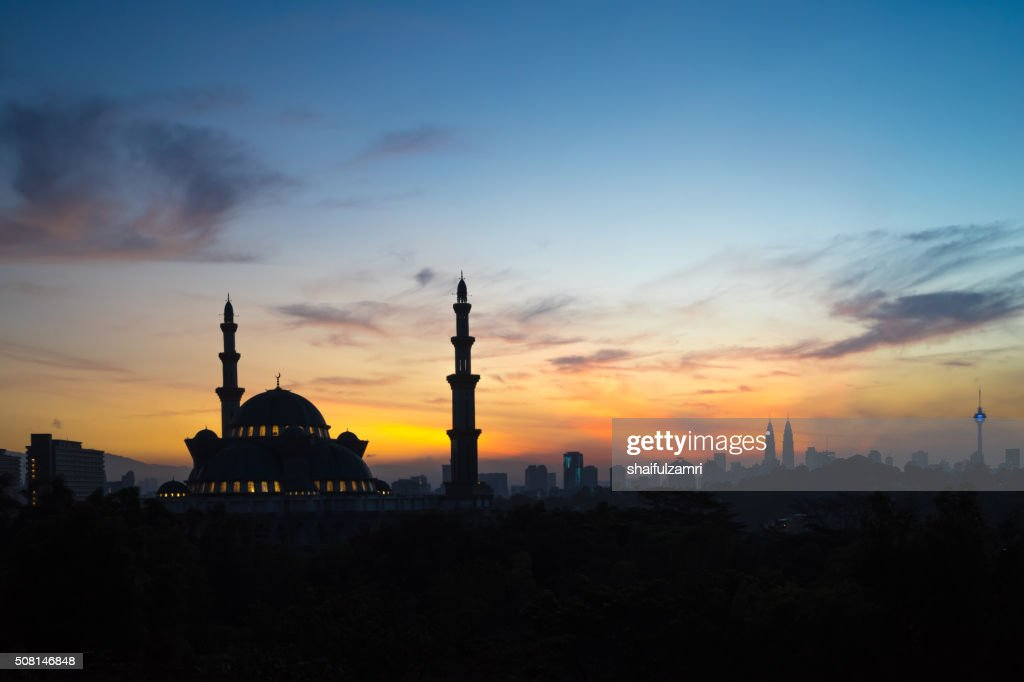 Sunrise over The Federal Territory Mosque : Stock Photo