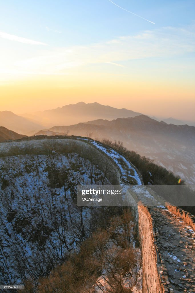 Sunrise over the Great Wall at the Jinshanling,Hebei Province : Stock Photo