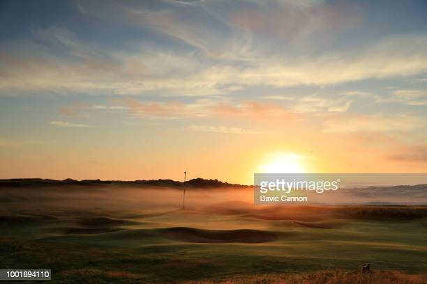 Sunrise over the green on the 191 yards par 3, 13th hole 'Feather Bed' on the Dunluce Links at Royal Portrush Golf Club the venue for The Open...