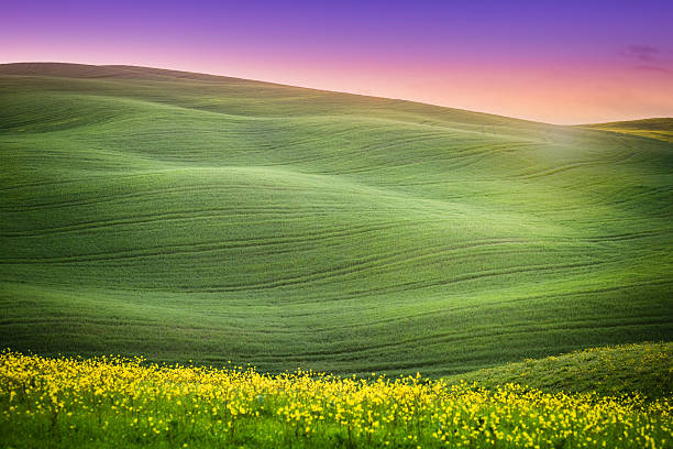 Sunrise over the hills Spring