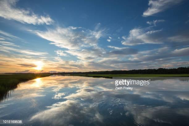 sunrise over the marsh - 泥沼地 ストックフォトと画像