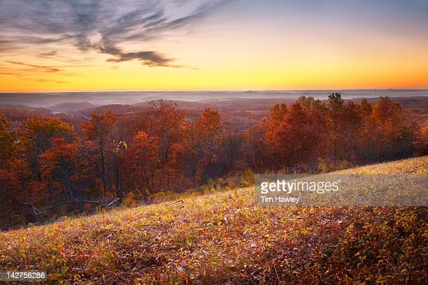 sunrise over the ozarks, fall color - ozark mountains stock pictures, royalty-free photos & images