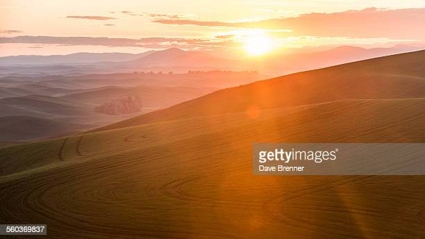 Sunrise over the Palouse hills in Washington state