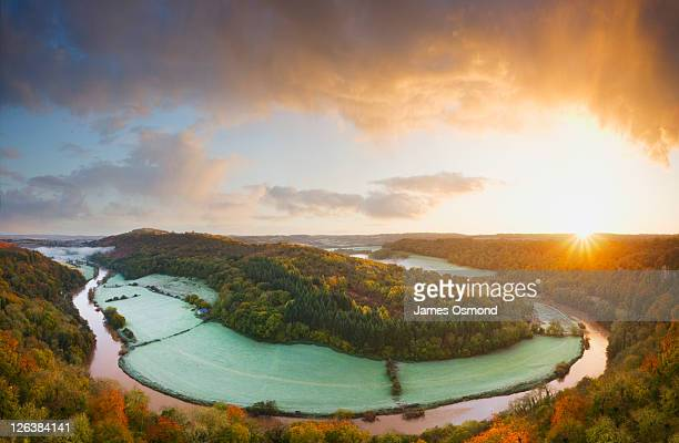 Sunrise over the River Wye at Symonds Yat in the Forest of Dean. Herefordshire. England. UK