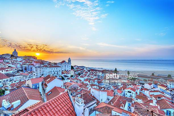 Sunrise over the rooftops of Alfama. Lisbon