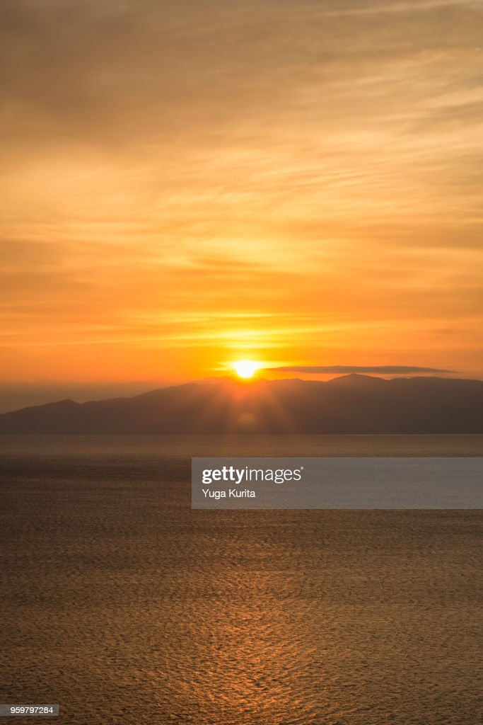 Sunrise over the Suruga Bay and Izu Peninsula : Stock-Foto