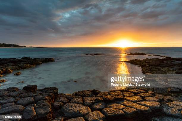 sunrise over the tropical island, indian ocean, mauritius - インド洋 ストックフォトと画像