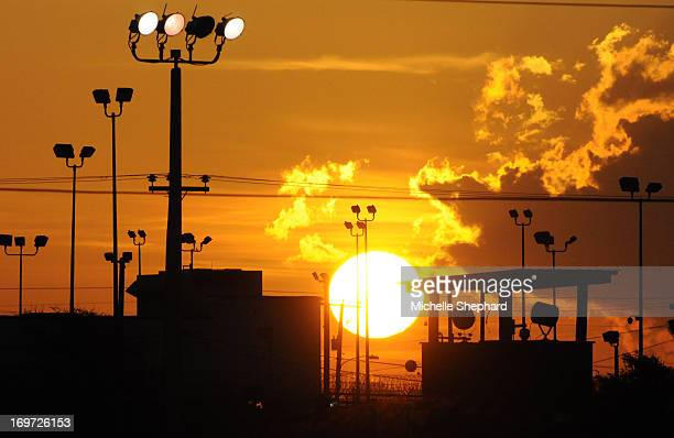 Sunrise over the US detention center Camp Delta on October 18 2012 in this photo reviewed by the US Department of Defense