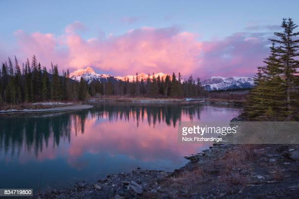 Sunrise over ther Bow River, Canmore, Alberta, Canada