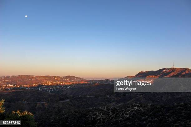 sunrise over valley and hills - griffith park stock pictures, royalty-free photos & images