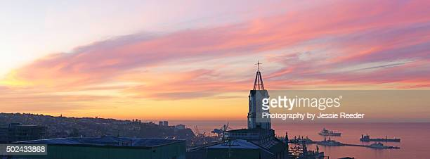 Sunrise over Valparaiso harbor, Chile