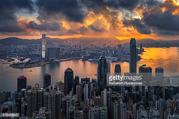 Sunrise over Victoria Harbor