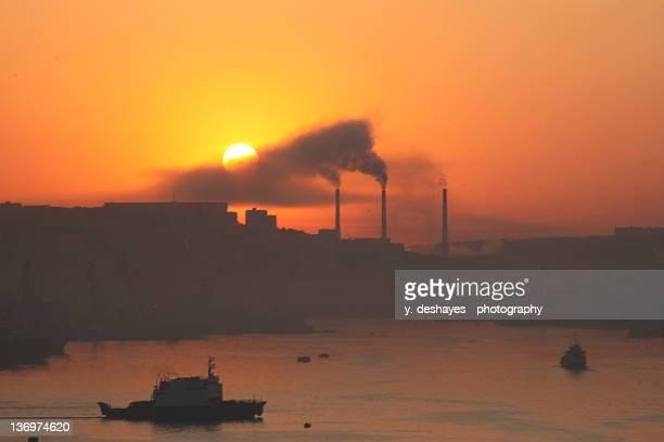 Sunrise over Vladivostok harbour