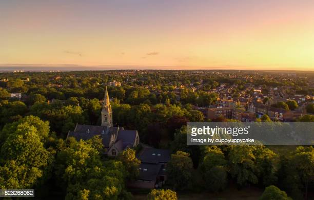 sunrise over wanstead - treetop stock photos and pictures