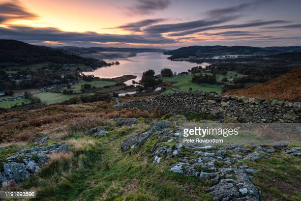 sunrise over windermere - lake windermere stock pictures, royalty-free photos & images