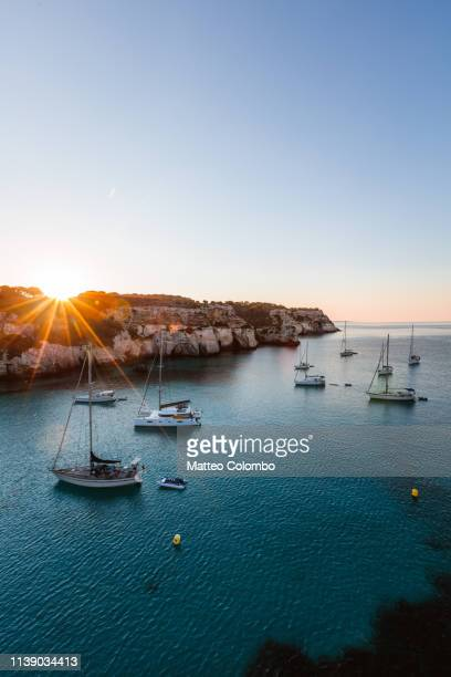 sunrise over yachts in the mediterranean sea, spain - 地中海文化 ストックフォトと画像