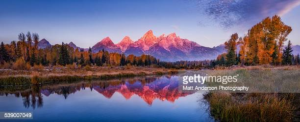 sunrise panorama grand teton mountains - jackson hole stock pictures, royalty-free photos & images