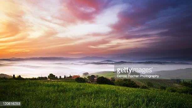 sunrise panorama in tuscany - san quirico d'orcia stock pictures, royalty-free photos & images