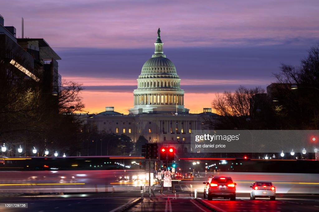 Sunrise, Pennsylvania Avenue, United States Capitol Building, Washington DC, America : Stock Photo