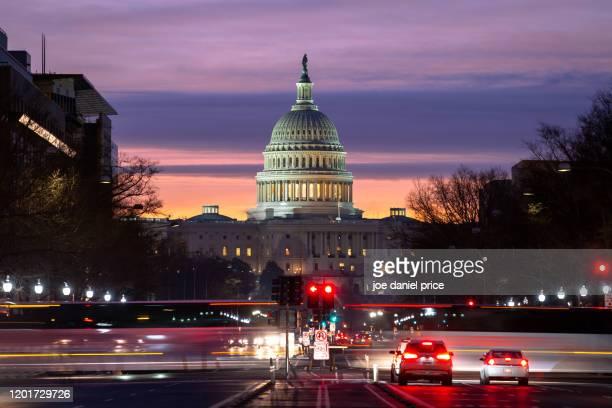 sunrise, pennsylvania avenue, united states capitol building, washington dc, america - capitol building washington dc stock pictures, royalty-free photos & images