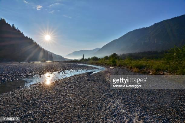 Sunrise, river bed of the Upper Isar, Vorderriss, Upper Bavaria, Bavaria, Germany