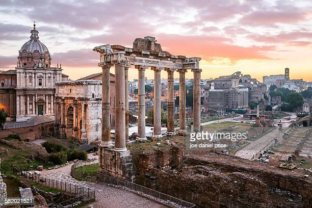 sunrise, roman forum, rome, italy - roma stock photos and pictures