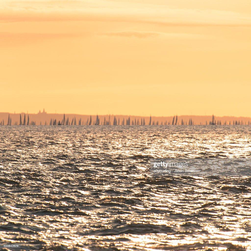 Sunrise Sailing on the Isle of Wight : Stock Photo