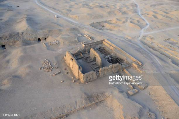 sunrise scene of aerial view from balloon of queen hatshepsut's palace, luxor, egypt - archaeology stock pictures, royalty-free photos & images