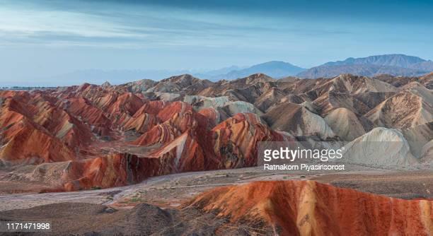 sunrise scene of amazing landscape at geological park rainbow mountain, danxia landform, gansu province, zhangye, china - 丹霞地形 ストックフォトと画像