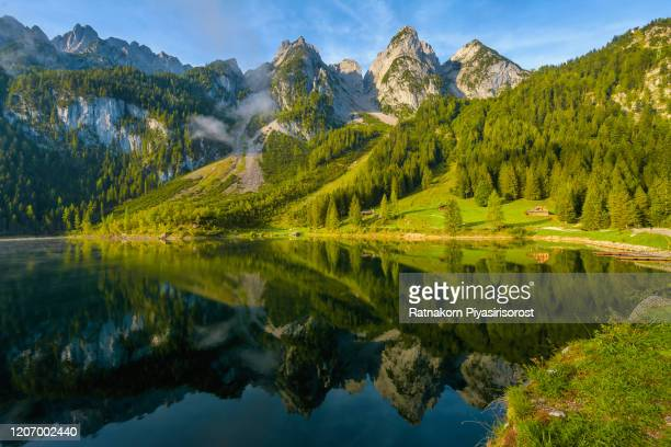 sunrise scene of austrian landscape with forests, fog, meadows, fields and pastures surrounding the lake gosausee with alps mountain - seeufer stock-fotos und bilder