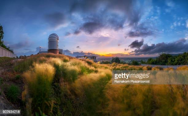Sunrise Scene of Modern Scientific Astronomical Observatory Telescope, Located in Songkhla, Thailand in 20 Feb 2018