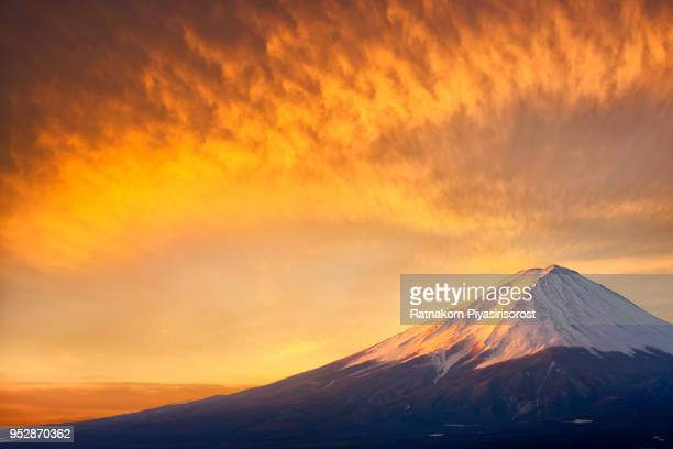 sunrise scene of mt. fuji with beautiful sky - mt fuji stock photos and pictures