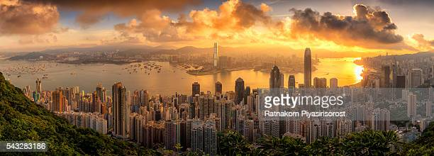 Sunrise Scene of Victoria Harbor, Hong Kong