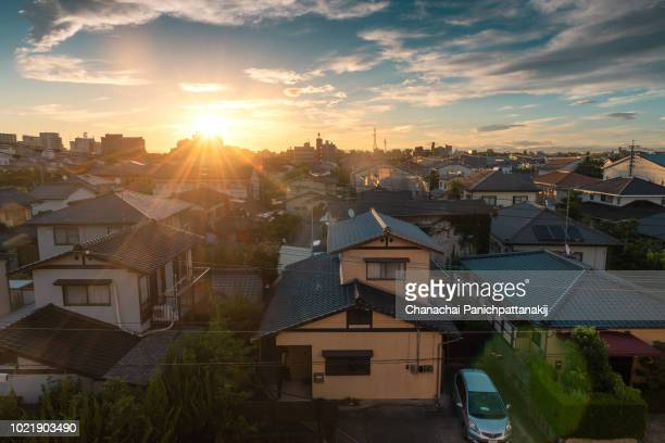 sunrise scene over saga city, japan - residential district stock pictures, royalty-free photos & images