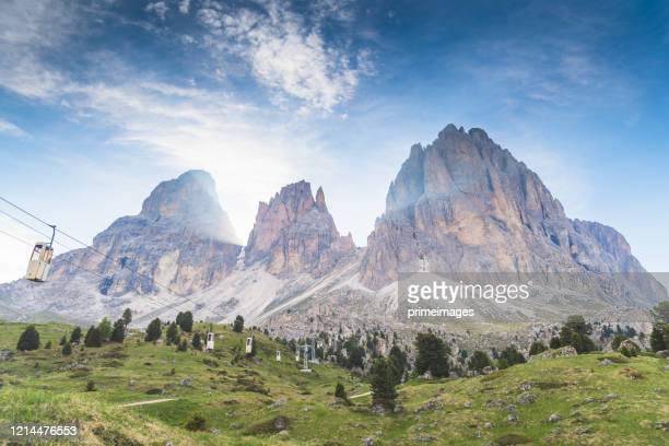 イタリアの風景、ドロミテのトレ・シメ・ディ・ラヴァレド/コルティーナ・ダンペッツォの有名なパノラマビューの日の出 - トレチーメディラバレード ストックフォトと画像