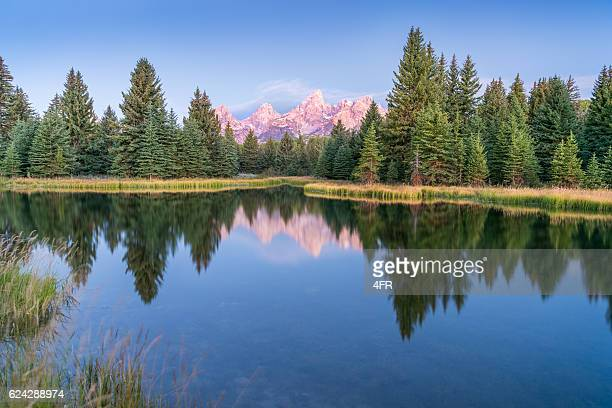 sunrise, schwabacher's landing, grand teton national park - idaho stock pictures, royalty-free photos & images