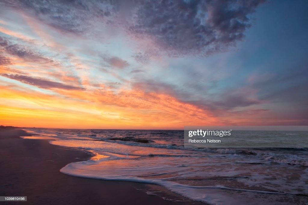 sunrise seascape at the Gulf of Mexico : Stock Photo