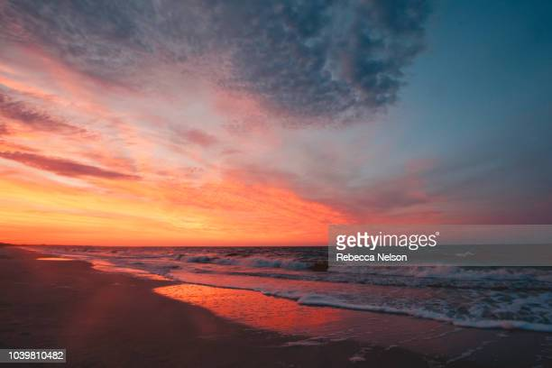 sunrise seascape at the gulf of mexico - colorful sunset stock photos and pictures
