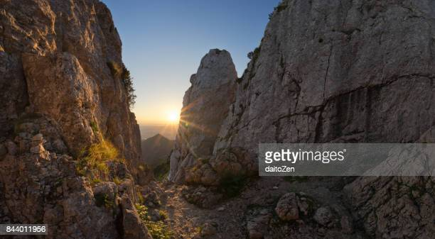 Sunrise seen from Kampenwand (1,669m) mountain summit area, Bavarian Alps, Chiemgau, Upper Bavaria, Germany